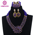 Fashion Mix Royal Blue and Gold Bridal Necklace Women Jewelry Set Nigerian Wedding Beads Pendant Set Free shipping WD393