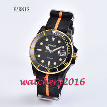 New 40mm Parnis black dial black PVD case ceramic bezel yellow numbers sapphire glass miyota Automatic movement Men's Watch