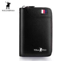 WilliamPOLO 2018 Men Key Wallet Car Keychain Organizer Genuine Leather Keys Bag Cover Six Key Hook Zipper Case with Card Holder