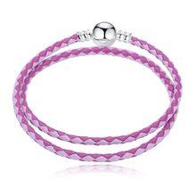7749b1179168 12 colores de cuero cadena 5 unids lote Fit Pandora pulseras de la moda  europea pulsera del encanto para las mujeres de la joyer.