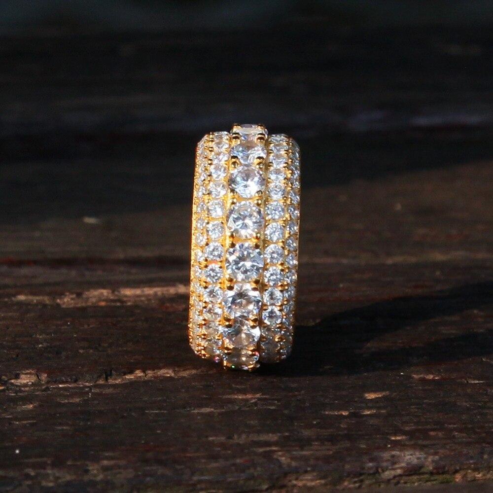 Plein AAA Zircon strass fête anneaux de luxe or argent bague de mariage femmes hommes Bling glacé gothique Hip Hop bijoux