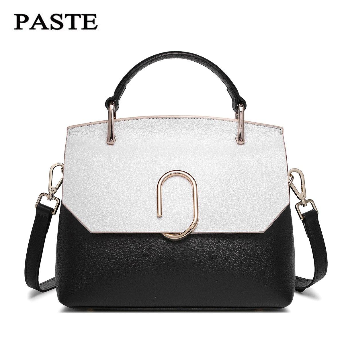 ФОТО PASTE Brand designer panelled color Genuine leather handbag Fashion Elegant cowhide shell Bag Beautiful Cowskin women bags