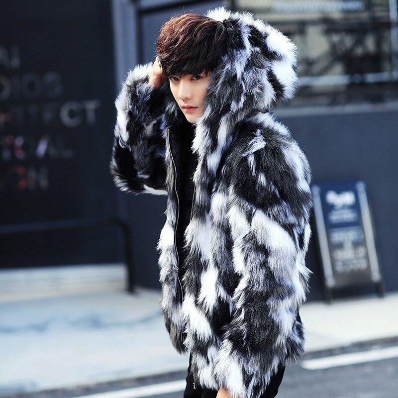 Abrigo de piel de invierno para hombre, abrigos de piel con capucha, abrigo de piel de gran tamaño para hombre, chaqueta cálida de piel sintética para hombre