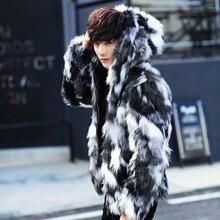 Inverno maschio pelliccia cappotto Mens Cappotti di Pelliccia Con Cappuccio FurParka Uomini di Grandi Dimensioni Cappotto di Pelliccia Caldo della Pelliccia Del Faux del Rivestimento Degli Uomini