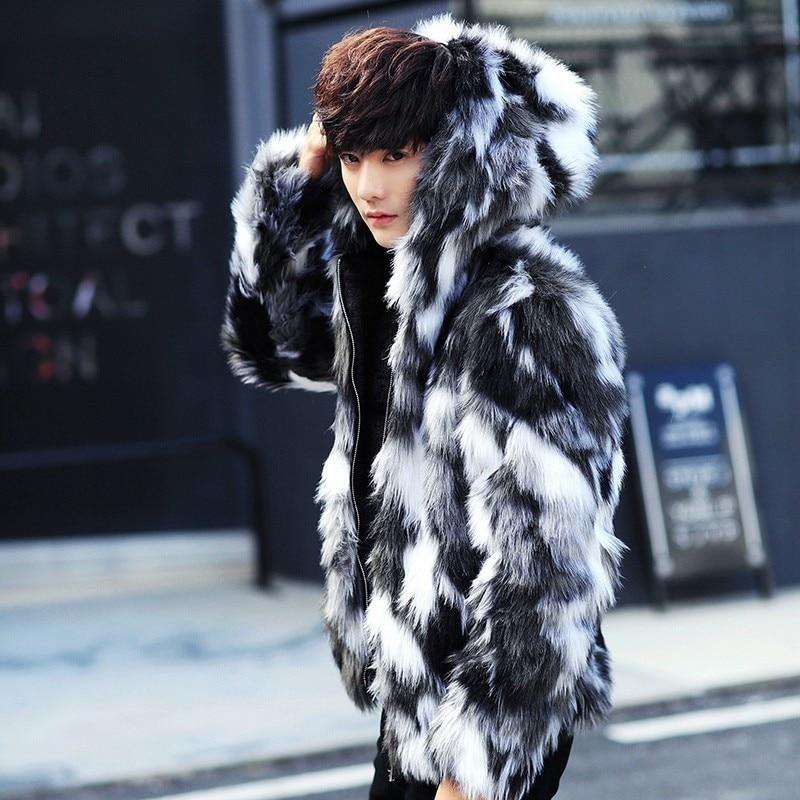 Winter male fur overcoat Mens Fur Coats With Hood FurParka Oversized Men Fur Overcoat Warm Faux