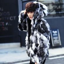 Зимний мужской мех пальто Для мужчин s шубы с капюшоном меховая парка негабаритных Для мужчин мех пальто Теплый искусственного Меховая куртка Для мужчин