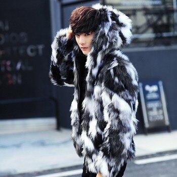 Winter male fur overcoat  Mens Fur Coats With Hood FurParka Oversized Men Fur Overcoat Warm Faux Fur Jacket Men