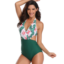 Sexy slim bikini print leaf high elastic one-piece swimsuit with chest pad no steel ring women's set underwear  free shipping