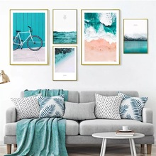 Abstract Decorative Blue Sea Wall Art Canvas Painting Nordic Poster Pictures For Living Room Modern Home Decor Unframed