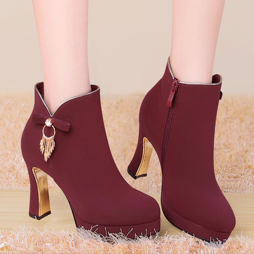91c374f4 2019 Impermeable Americana Botas Y Nuevos Invierno Plataforma Gruesa E Moda  rojo Mujeres La Tacón Europea Otoño Zapatos ...