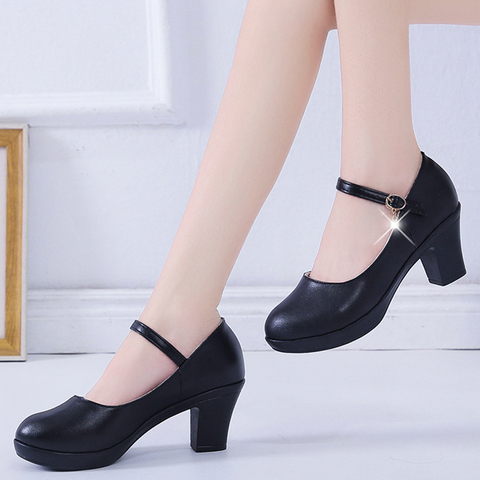 Rimocy Black High Heel 6cm Office Shoes Woman Platform Chunky Heels Ankle Strap Pumps Women Thick Bottom Non-slip Ladies Shoes Lahore