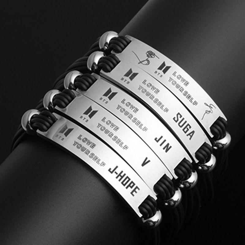 Jewelry & Accessories Bts Bangtan Boys Love Yourself Member Signature Army Silicone Titanium Steel Bangles Bracelet Women Men Jewelry