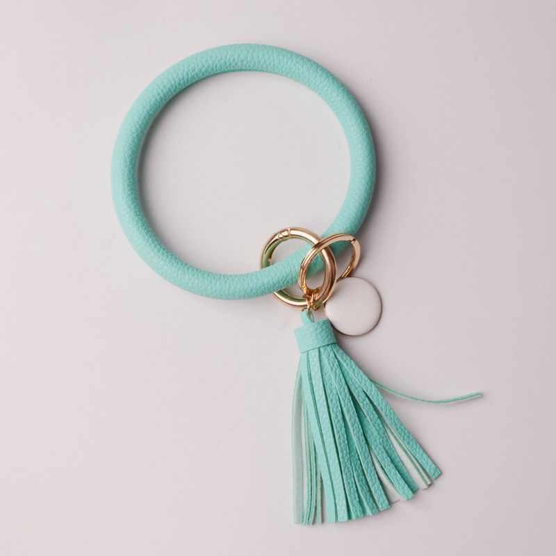 2019 ใหม่ PU หนัง O Key Chain Custom วงกลมน่ารักเดียวกันสีพู่กระเป๋าสตางค์พวงกุญแจขายส่งผู้หญิง 11 สีพวงกุญแจ