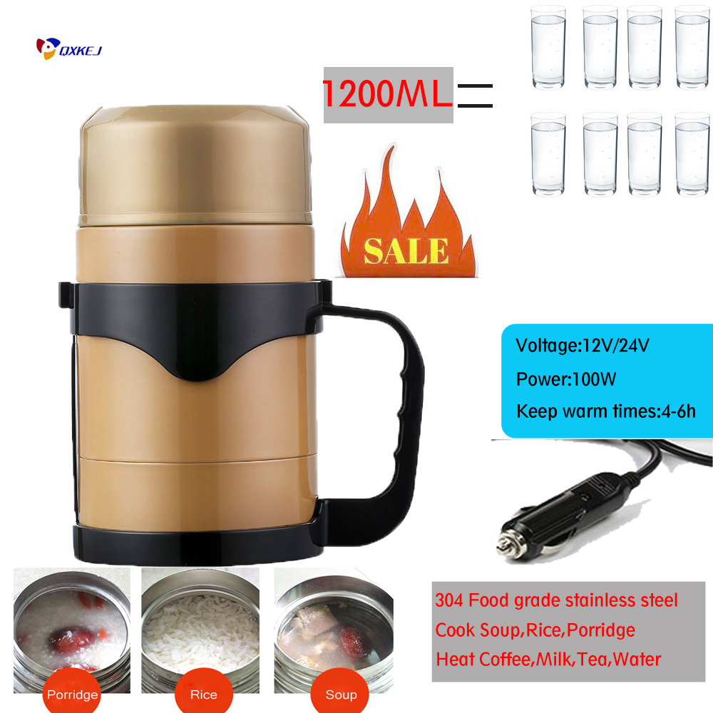 1 2l 12v Car Kettle Car Heating Cup Travel Coffee Holder Soup Cooking Pot Water Boiling Electric