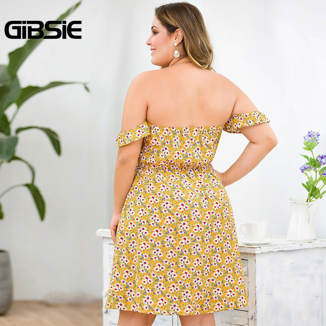 GIBSIE Plus Size Floral Print Boho Off Shoulder Dress Women Summer Beach Style Holiday Dress Ladies High Waist A Line Dress 2