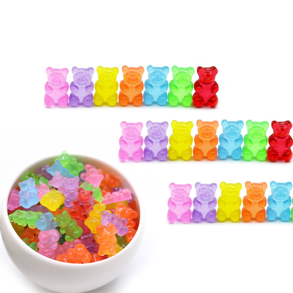 10Pcs Bear Charms For Slime Resin Plasticine Slime Accessories Candy  Polymer Bead Filler DIY Scrapbooking Crafts For Kids