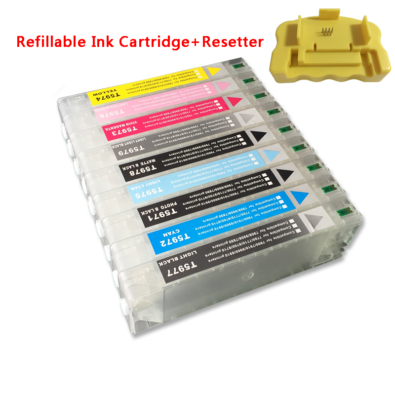 9 colors T5961-T5969 Refillable ink cartridge + 1 pc resetter for Epson 7890 9890 7908 9908 large format printer with chips excellent 700ml refill ink cartridge for epson stylus 9890 large format printer with chip resetter
