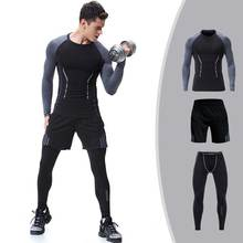 3 Pieces Men GYM Compress Fitness Sets Long Tee Top + Legging + Shorts Workout Exercise Sport Shirts Running Tights E110