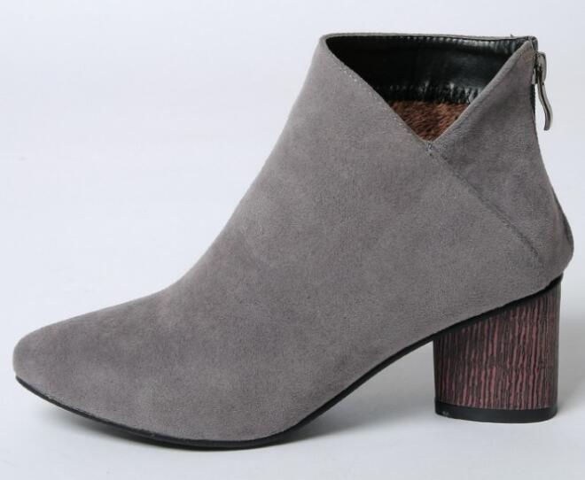 Зимняя женская обувь; Zapatos Mujer; женская обувь; женские туфли-лодочки; Sapato Feminino; ботильоны на массивном высоком каблуке; модная обувь; BYB16121