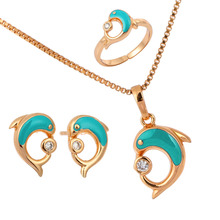 Gold Plated Blue Dolphin Play CZ Ball Stud Earrings Ring Pendant Necklace Small Jewelry Sets For Women Children Kids Girls