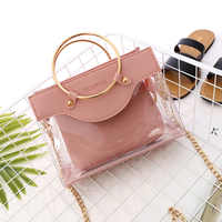 2019 Summer New Handbag High quality PVC Transparent Women bag Metallic Ring Tote bag Beach Travel Chain Shoulder Messenger Bag