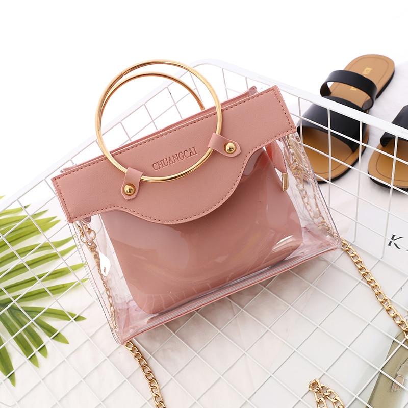 2019 Summer New Handbag High quality PVC Transparent Women bag Metallic Ring Tote bag Beach Travel Chain Shoulder Messenger Bag