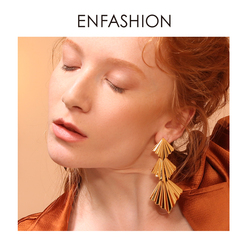 Enfashion triplo ventilador brincos de gota para mulher grande cor de ouro longa declaração brincos de moda jóias oorbellen voor vrouwen ed1084