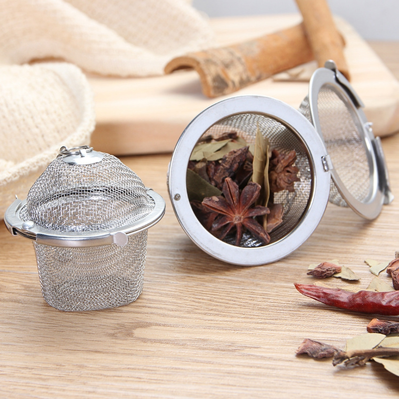 1pcs Stainless Steel Tea Strainer Infuser Tea Locking Ball Tea Spice Mesh Herbal Ball Cooking Kitchen Tools