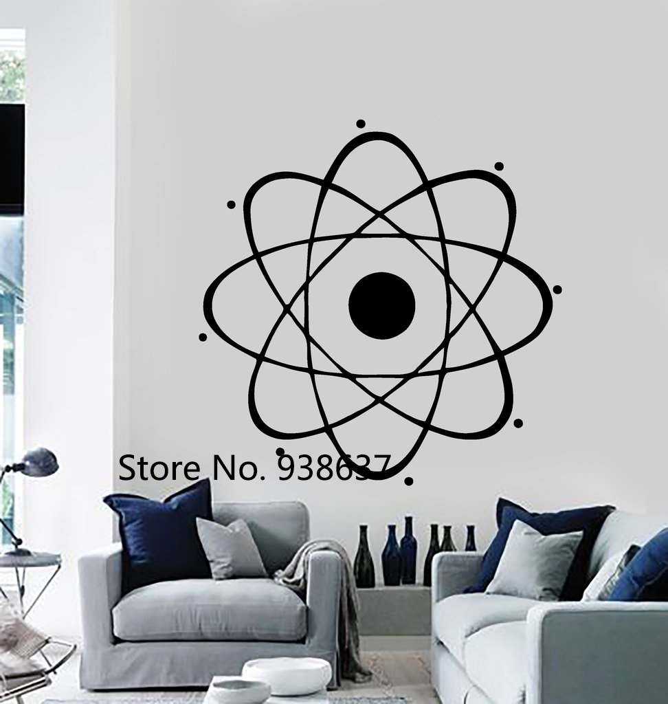Atom Large Wall Decal Nuclear Science Chemistry Physics Wall Vinyl ...