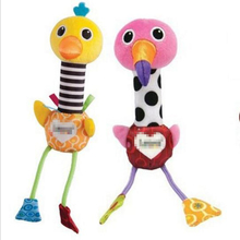 Free Shipping Good quality brand toys 0-1 years old baby rattle Colored flamingos and ostriches Shake can sound With sound paper