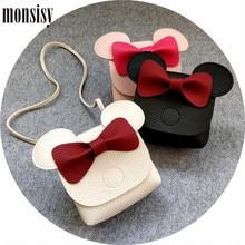 ФОТО monsisy christmas girl coin purse and handbag children wallet kawaii pu leather mouse bow shoulder bag baby boy messenger bag