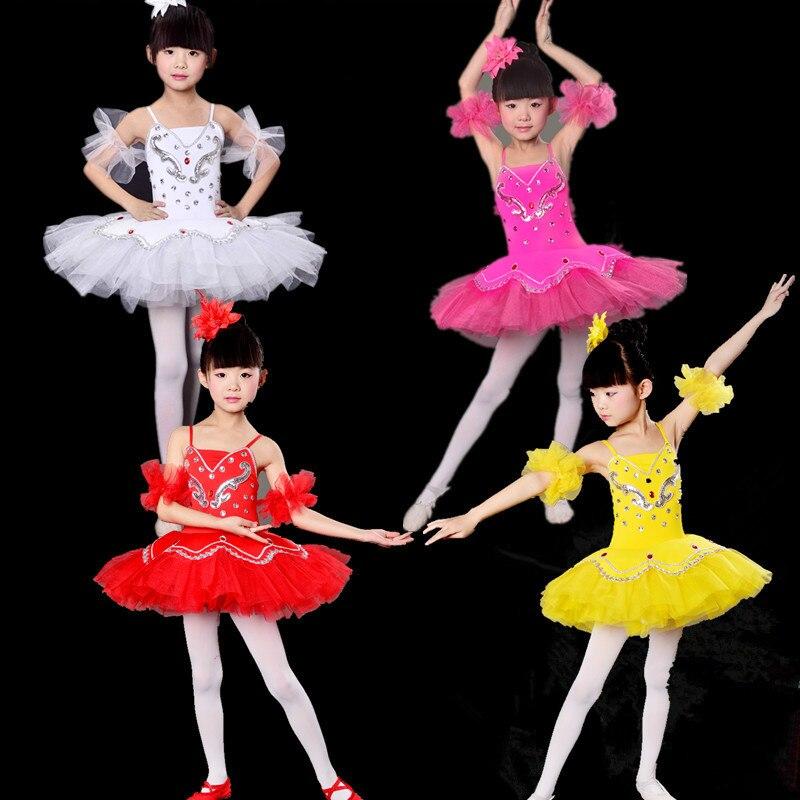 Mädchen ballett-tutu kostüm kinder pailletten weiß schwanensee dance dress kinder tanzen trikot mädchen dancewear allet dress kleidung 89