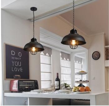 Retro Vintage Indoor Pendant Light Fixture American Loft Black Chain Hanging Lamp Bar Restaurant Kitchen Lighting Wrought Iron