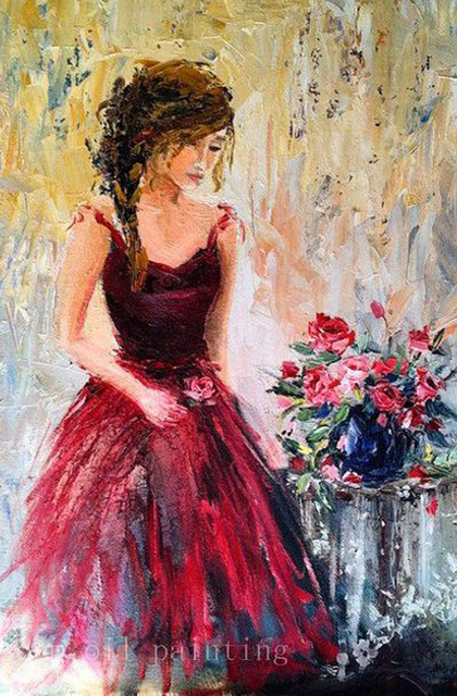 Hand Painted Modern Wall Art Knife Oil Painting Feminine Romantic Woman Figure Red Roses Impressionist Canvas