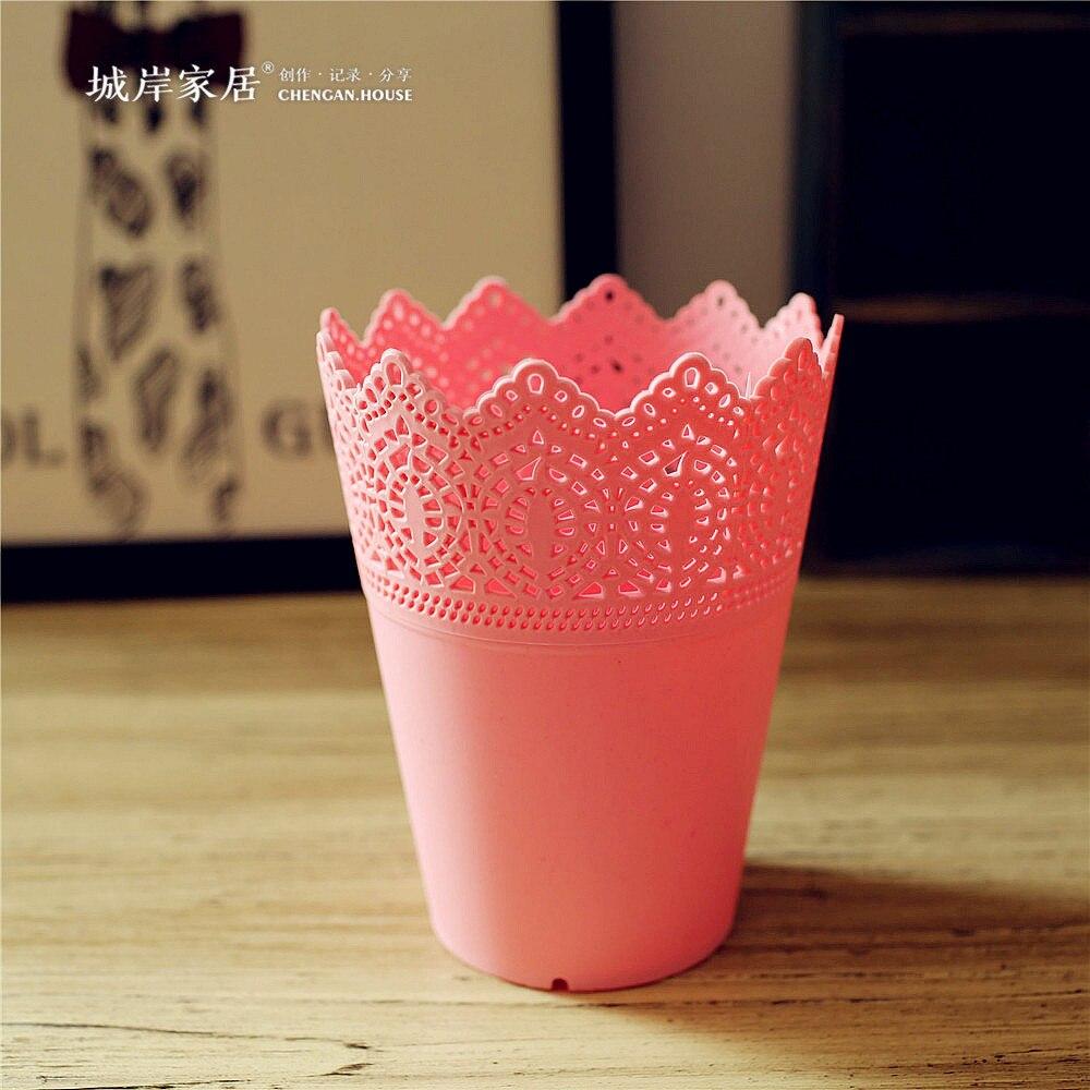 High grade Floral hollow design flower vase solid color decorative ...