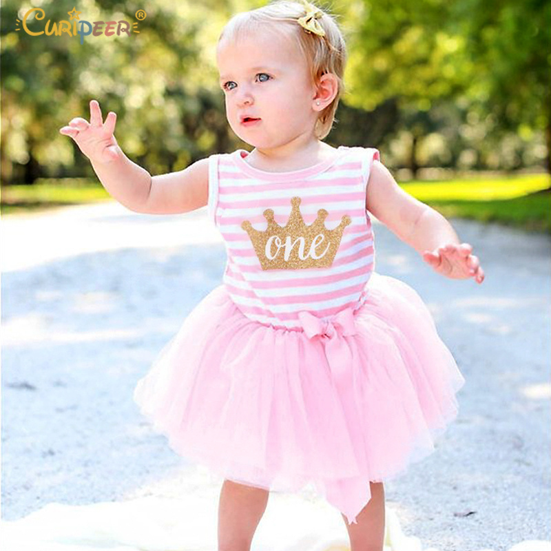 Curipeer 2019 Child Ladies Attire For One Years Outdated Birthday Social gathering Tutu Toddler Woman Princess Gown 12 Month Stripe Woman Garments