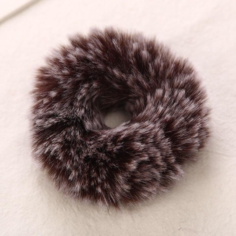 AIKELINA/Новинка; зимняя теплая мягкая резинка для волос из искусственного кроличьего меха для девочек и женщин; аксессуары для волос; Детская резинка; головной убор - Цвет: Brown