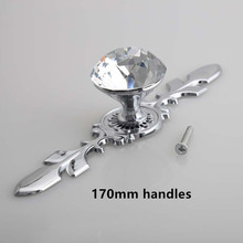 glass crystal dresser handles knobs shiny silver wine cabinet drawer knob handle modern simple fashion deluxe furniture handles