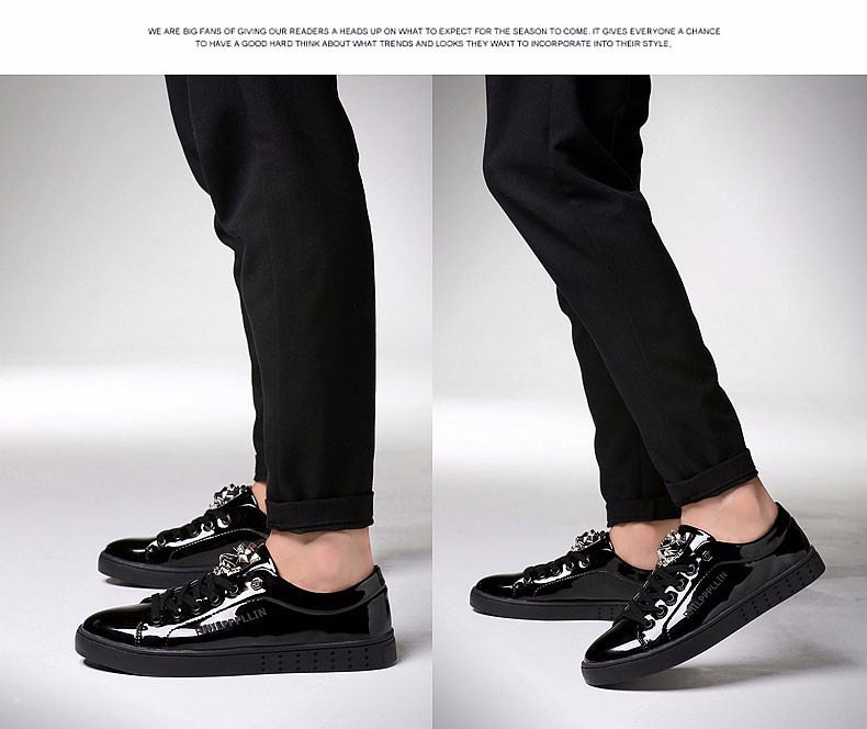 KUYUPP 2016 High Quality PU Patent Leather Men Flats Shoes Leopard Head Sequined Skate Shoes Round Toe Lace Up Men Flat Heel Y31 (31)