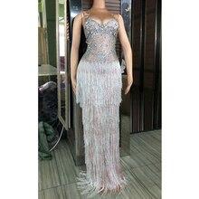 גבישים מפוארים שוליים ארוך שמלת ליידי ערב המפלגה סקסי שמלת נשף יום הולדת לחגוג כבד בעבודת יד אבנים שמלות DJ381