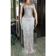 Pha Lê sang trọng Tua Dài Dress Lady Evening Đảng Sexy Dress Prom Sinh Nhật Mừng Nặng Handmade Đá Dresses DJ381