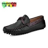Summer Mens Slip on Casual Genuine Loafers Men Breathable Boat Shoe Men's Dance Shoes Fat Leather Shoe Sheepskin Moccasins