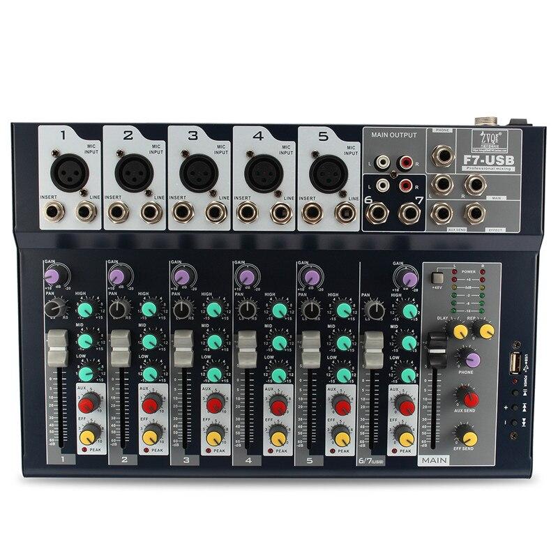 LEORY Professional Stage Live Studio Karaoke Audio Mixer USB Sound Mixing Console DJ KTV Show 7 Channel Mini