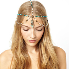 Ubuhle New Fashion Women Wedding Bridal Forehead Head Chain Headdress Pendant Bride Tiara Party Jewelry Hair Accessories