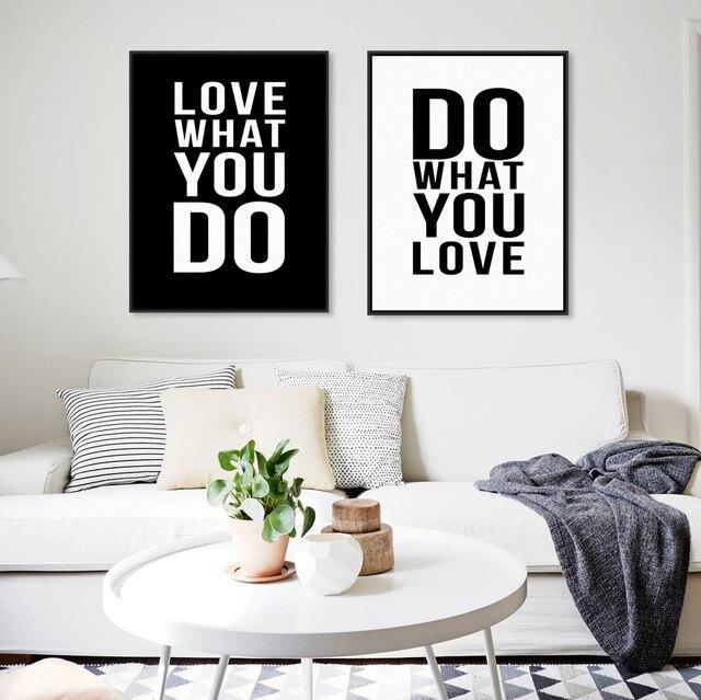 Minimalist Black White Motivational Love Quote Poster Prints Vintage ...