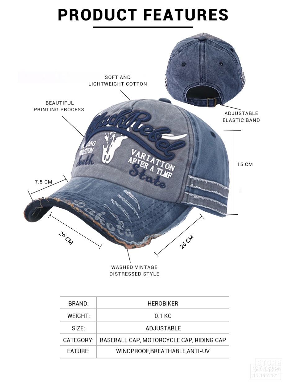 f0c623a9c69 Vintage Washed Denim Cotton Distressed Motorcycle Caps Baseball Hat ...