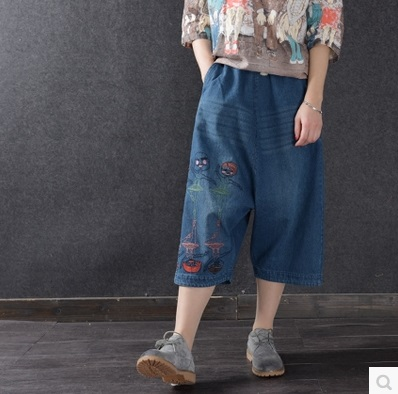 New product launches in the summer of 2017, in the original design loose big yards of denim cotton womens pants