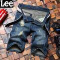 2016 Shorts Homens Moda Casual Mens Shorts Jeans de Algodão Em Linha Reta Rasgado Cortadas Calções Capris Bermuda Homme Plus Size 28-40 Azul