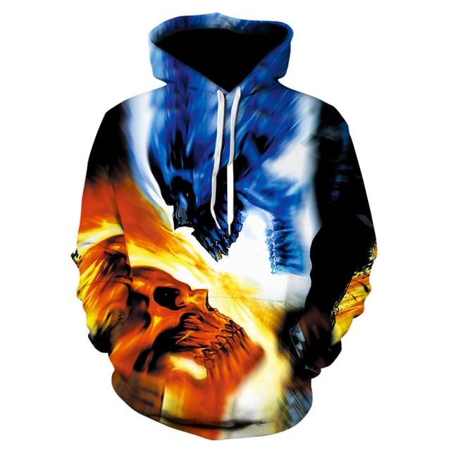 New 2019 Custom Unisex Sweatshirt 3D Skull Printed Pullovers Hoodies Dropship S-6XL 2