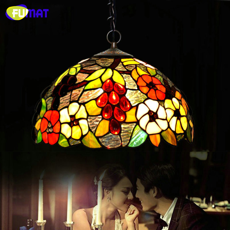 FUMAT Stained Glass Pendant Light Hand Made Vintage Glass Shade Pendant Lamp Bar Restaurant Lamps Kitchen Living Room Lights fumat stained glass pendant lamps european style baroque lights for living room bedroom creative art shade led pendant lamp